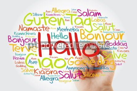 Business: Hallo (Hello Greeting in German) word cloud in different languag #10003