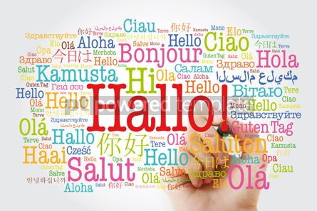 Business: Hallo (Hello Greeting in German) word cloud in different languag #10004