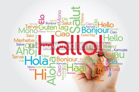 Business: Hallo (Hello Greeting in German) word cloud in different languag #10005