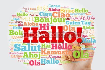 Business: Hallo (Hello Greeting in German) word cloud in different languag #10006