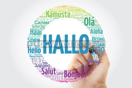 Business: Hallo (Hello Greeting in German) word cloud in different languag #10007