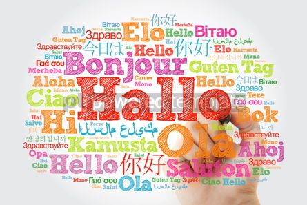 Business: Hallo (Hello Greeting in German) word cloud in different languag #10008