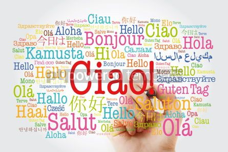 Business: Ciao (Hello Greeting in Italian) word cloud in different languag #10012