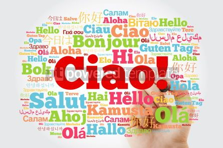 Business: Ciao (Hello Greeting in Italian) word cloud in different languag #10014