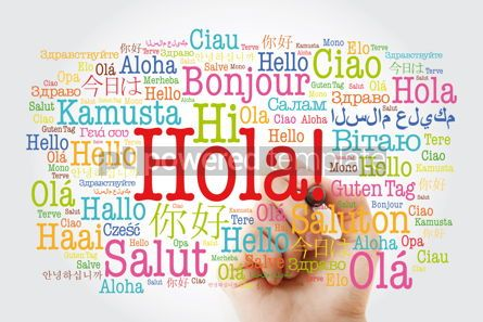 Business: Hola! (Hello Greeting in Spanish) word cloud in different langua #10021