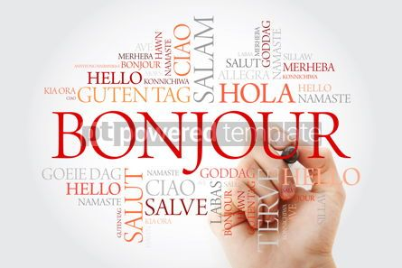 Business: Bonjour (Hello Greeting in French) word cloud in different langu #10023