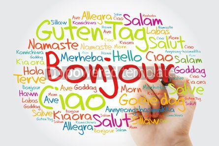 Business: Bonjour (Hello Greeting in French) word cloud in different langu #10024