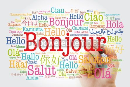 Business: Bonjour (Hello Greeting in French) word cloud in different langu #10025