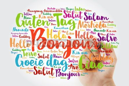Business: Bonjour (Hello Greeting in French) word cloud in different langu #10026