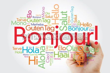Business: Bonjour (Hello Greeting in French) word cloud in different langu #10027