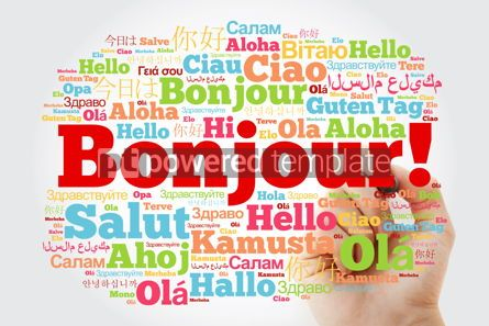 Business: Bonjour (Hello Greeting in French) word cloud in different langu #10028