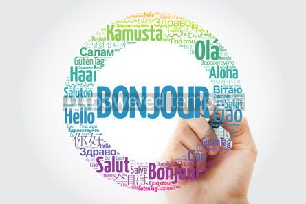 Business: Bonjour (Hello Greeting in French) word cloud in different langu #10029
