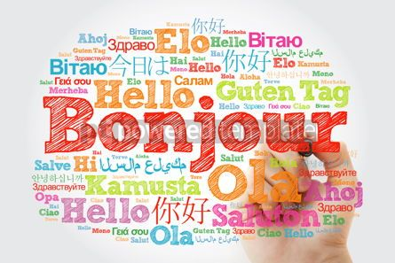 Business: Bonjour (Hello Greeting in French) word cloud in different langu #10030