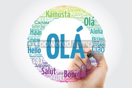 Business: OLA (Hello Greeting in Portuguese) word cloud in different langu #10031