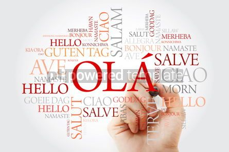 Business: OLA (Hello Greeting in Portuguese) word cloud in different langu #10032