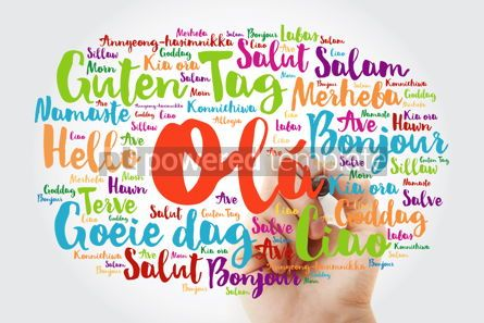 Business: OLA (Hello Greeting in Portuguese) word cloud in different langu #10033