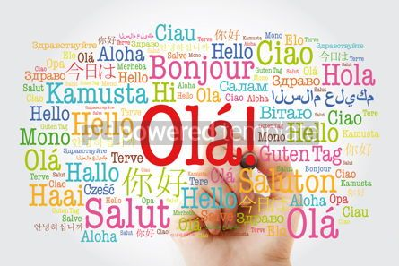Business: OLA (Hello Greeting in Portuguese) word cloud in different langu #10035