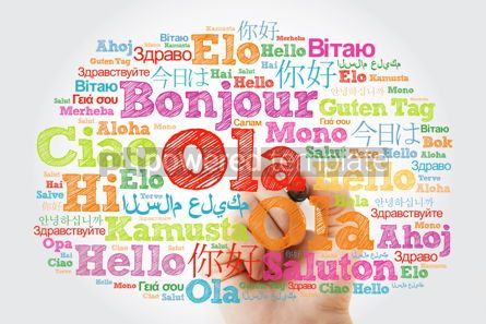 Business: OLA (Hello Greeting in Portuguese) word cloud in different langu #10036