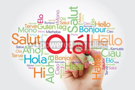 Business: OLA (Hello Greeting in Portuguese) word cloud in different langu #10037