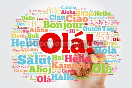 Business: OLA (Hello Greeting in Portuguese) word cloud in different langu #10038