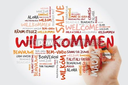 Business: Willkommen (Welcome in German) word cloud in different languages #10052