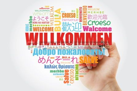 Business: Willkommen (Welcome in German) love heart word cloud in differen #10053
