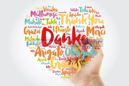 Business: Danke (Thank You in German) Love Heart Word Cloud in different l #10057