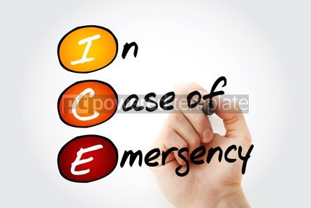 Education: ICE - In Case of Emergency acronym health concept background