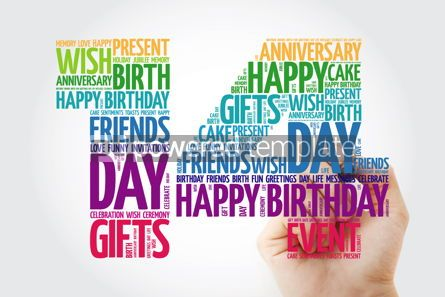 Education: Happy 14th birthday word cloud collage concept with marker #10141