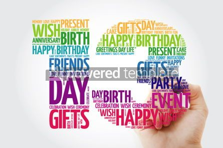 Education: Happy 13th birthday word cloud collage concept with marker #10142