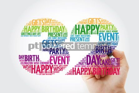Education: Happy 32nd birthday word cloud collage concept #10144