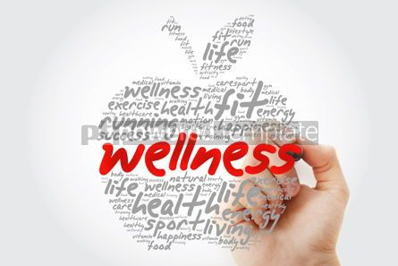 Education: Wellness apple word cloud with marker health concept background #10188