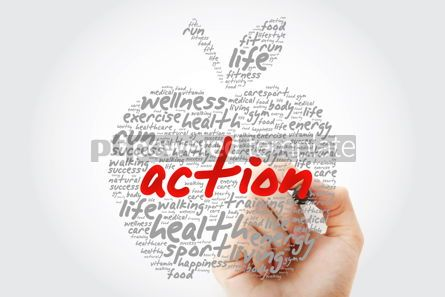 Education: ACTION apple word cloud with marker health concept background #10189