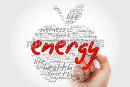 Education: ENERGY apple word cloud with marker health concept background #10190