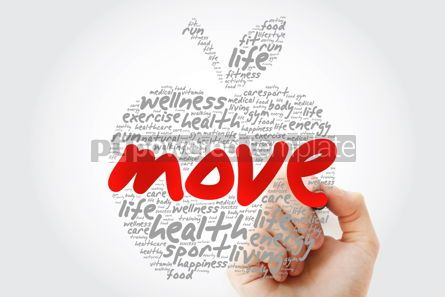 Education: MOVE apple word cloud with marker health concept background #10191