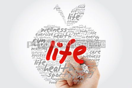 Education: LIFE apple word cloud with marker health concept background #10194