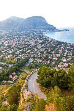 Nature: Panoramic aerial view of Mondello beach Palermo Sicily Italy #10204