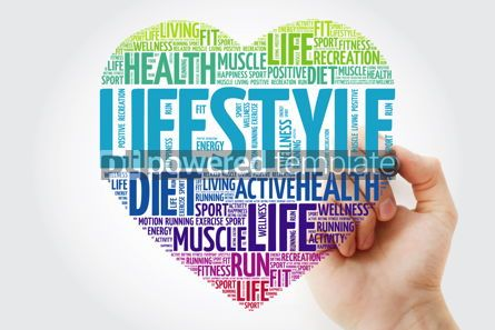 Health: LIFESTYLE heart word cloud with marker fitness sport health c #10221