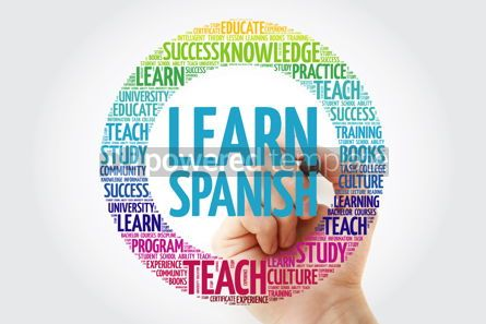 Business: Learn Spanish word cloud with marker education business concept #10230