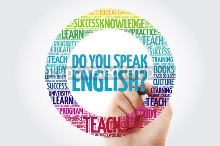Business: Do You Speak English? word cloud with marker education business #10231