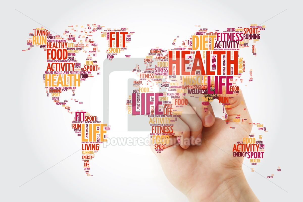 Health and Life World Map in Typography sport health fitness, 10232, Education — PoweredTemplate.com