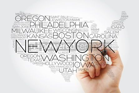 Business: USA Map word cloud collage with most important cities concept w #10236