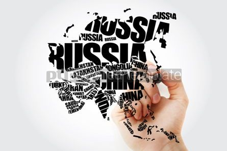 Business: Asia Map in Typography word cloud concept with marker names of  #10240