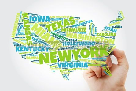 Business: USA Map word cloud collage with most important cities concept w #10241