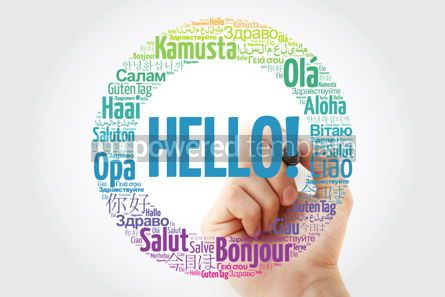 Business: Hello word cloud in different languages of the world with marker #10243