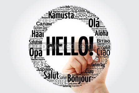 Business: Hello word cloud in different languages of the world with marker #10252