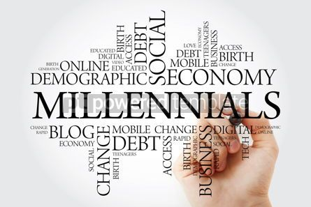 Business: Millennials word cloud with marker concept background #10259