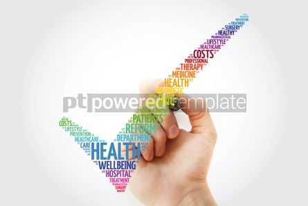 Education: HEALTH check mark with marker health concept word cloud #10264