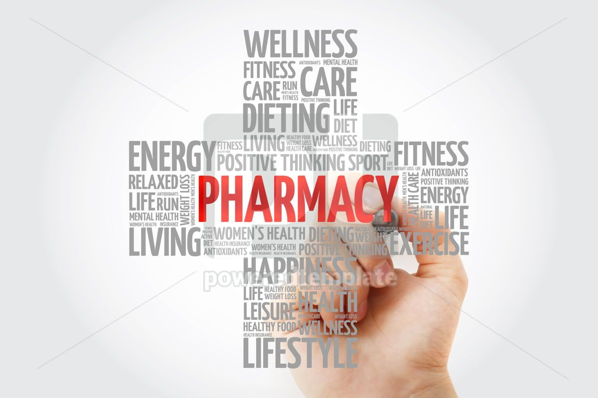 Pharmacy word cloud with marker health cross concept background, 10265, Education — PoweredTemplate.com