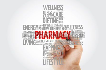Education: Pharmacy word cloud with marker health cross concept background #10265